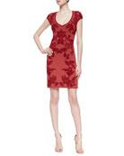 Short-Sleeve Jacquard Sheath Dress