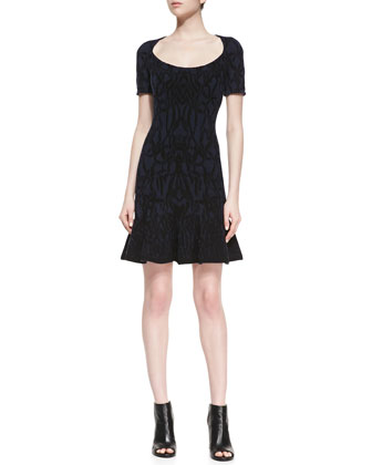 Scoop-Neck Jacquard Dress, Navy/Black