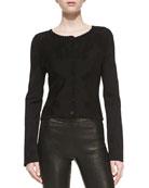 Knit Jacquard Cardigan, Black