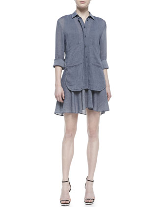 Tiered Two-Pocket Shirtdress