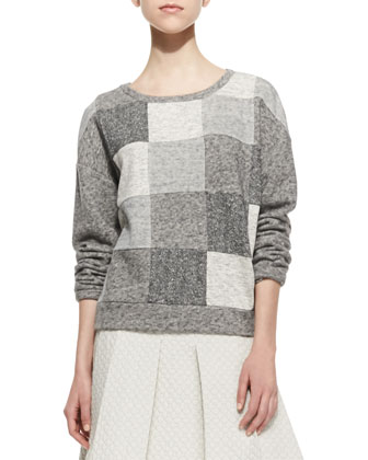 Patchwork Knit Scoop-Neck Sweatshirt & Quilted-Jersey Pleated Skirt