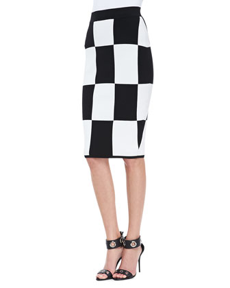 Tiered Draped Silk Cami and Checkerboard Pencil Skirt