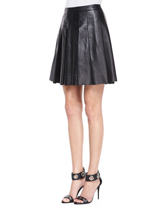 Long-Sleeve Drape-Front Blouse & Pleated Faux-Leather Skirt