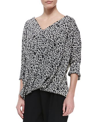 Mixed-Print Drape-Front Blouse