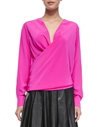 Long-Sleeve Drape-Front Blouse, Shocking Pink