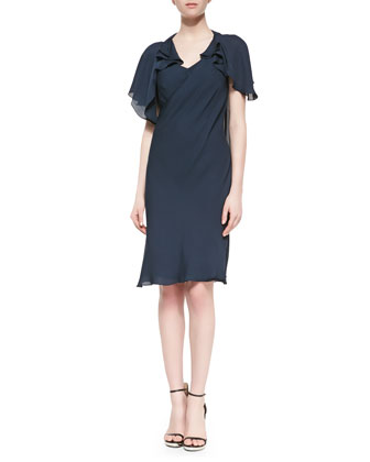 Short-Sleeve Chiffon Ruffled Dress