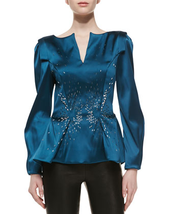 Stretch Duchesse Peplum Top, Teal