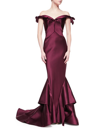 Off-the-Shoulder Duchesse Gown, Bordeaux