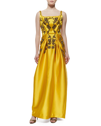 Sleeveless Beaded Duchesse Gown, Citrine