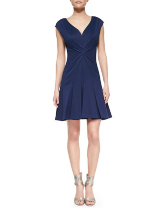 Cap-Sleeve Pleated Dress, Navy