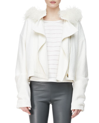Oversized Fur-Hood Jacket, Wool-Blend Stripe Cocoon-Sleeve Top & Lambskin ...