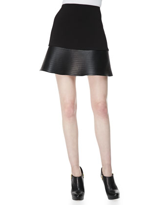 Ponte & Leather-Peplum Miniskirt