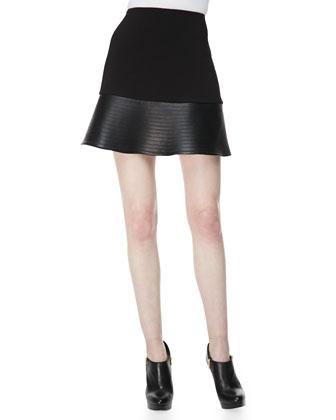 Ponte & Leather-Peplum Miniskirt
