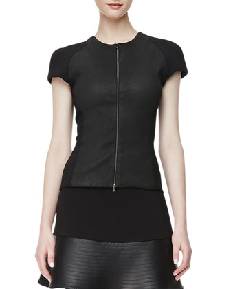 Ponte & Leather Zip-Front Top