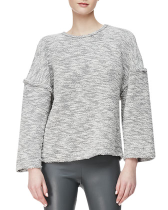 Reverse-Seam Knit Sweater & Lambskin Leggings