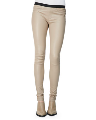 Contrast-Waist Leather Leggings, Brittle
