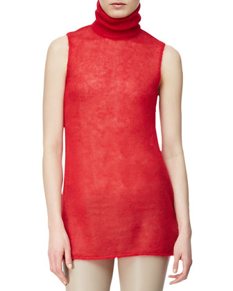 Mohair-Silk Sleeveless Turtleneck