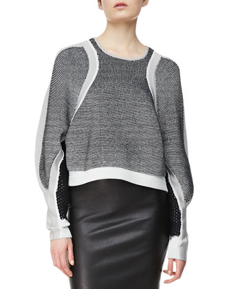 Converging Panels Pullover & Stretch Leather Pencil Skirt