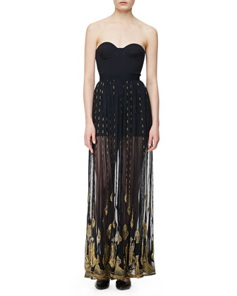 Sonic Boom Long Skirt, French Navy/Gold