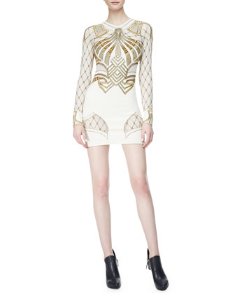 The Royal One Long-Sleeve Sheath Dress, Ivory/Gold