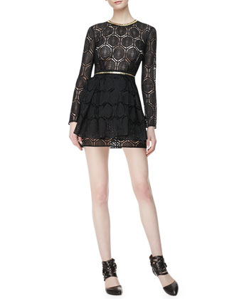 110 Percent Long-Sleeve Lace Dress, French Navy