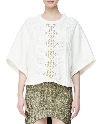 The Story Line Knit Top and March To Victory Metallic Skirt