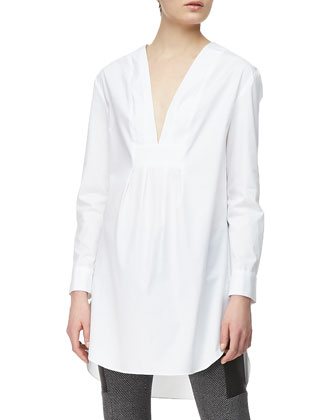 Long-Sleeve V-Front Shirtdress Tunic, White