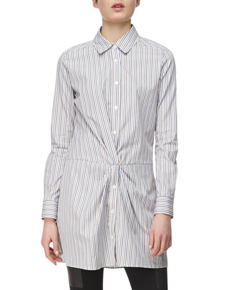Long-Sleeve Cross-Front Cotton Shirtdress
