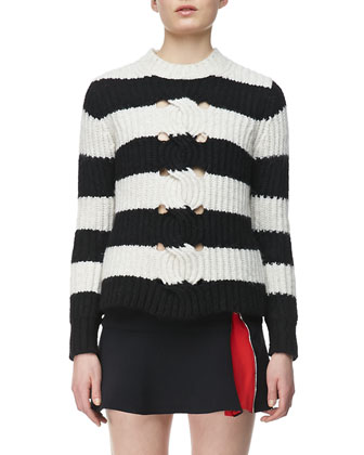 Striped Cable-Center Pullover and Ponte Flared Zipper Skirt