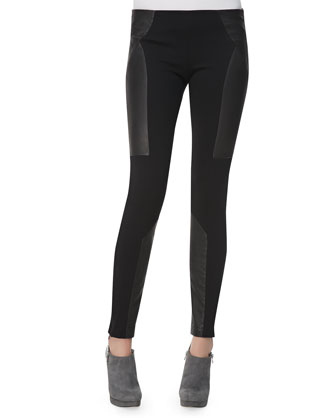 Leather-Paneled Ponte Leggings