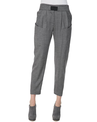 Pleated Wool Trousers, Gray
