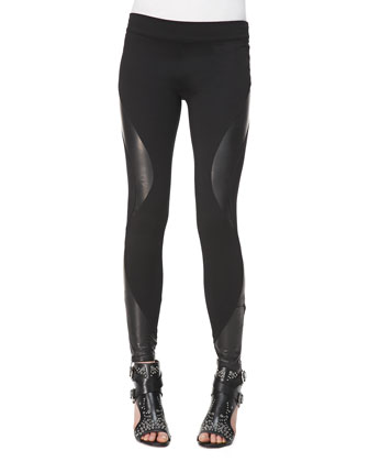 Engineered Leather/Knit Swirl-Panel Leggings