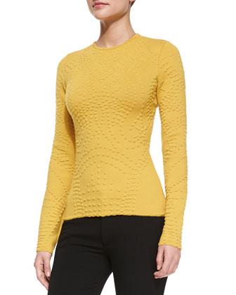 Long-Sleeve Popcorn Cashmere Top, Citrine