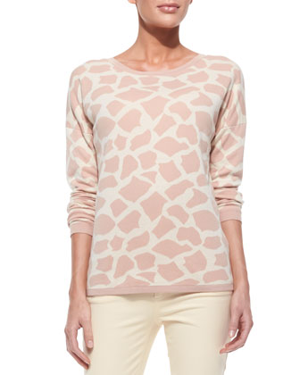 Giraffe-Print Cotton Sweater
