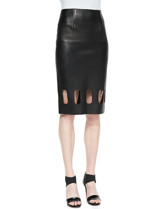 Elise Midi Leather Skirt, Black