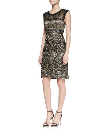 Cap-Sleeve Paisley-Pattern Cocktail Dress, Black/Nude