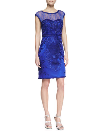 Cap-Sleeve Mesh-Top Beaded Cocktail Dress, Sapphire