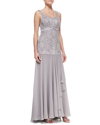 Sleeveless Beaded Full-Skirt Gown, Platinum