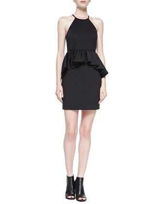 Halter Peplum Dress, Black