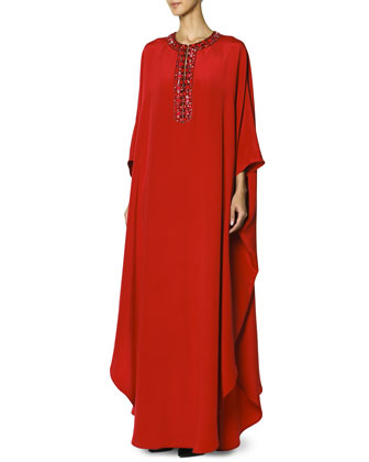 Long Caftan with Jewel-Trimmed Collar, Rosso Scur