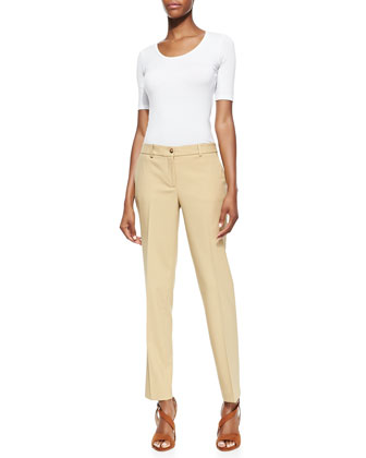 Stretch Wool Skinny Pants, Beige