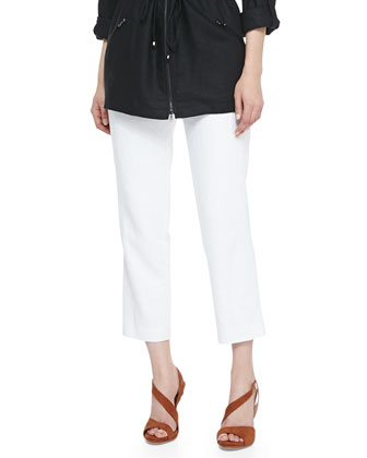 Easy Zip-Front Drawstring Jacket & Lined Linen Ankle Pants,
