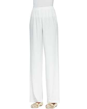 Straight-Leg Jersey Pants, White