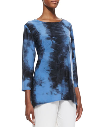 Double-Face Tie-Dye Tunic & Straight-Leg Jersey Pants, Women's