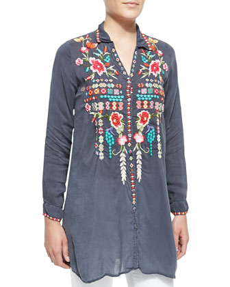 Eyva Embroidered Long Tunic & Serrano Printed Silk Scarf, Women's