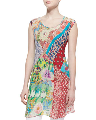 Mixed-Print Scoop-Neck Tunic
