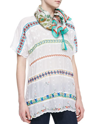 Colorful Daisy Eyelet Blouse & Ornament Lilac Printed Silk Scarf