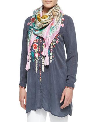 Eyva Embroidered Long Tunic & Serrano Printed Silk Scarf