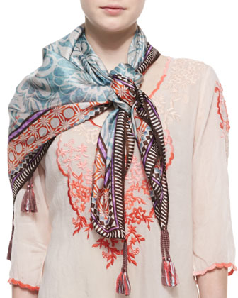 3/4-Sleeve Embroidered Baudelio Blouse & Lasso-Print Silk Scarf