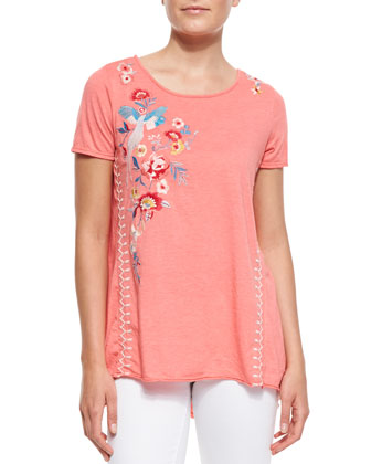 Shevaun Draped & Embroidered Tee, Women's